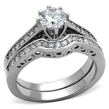 High Polished Stainless Steel 1.45(ct) Cubic Zirconia Wedding Ring Set