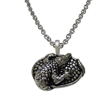 Oval Alligator Pendant Necklace