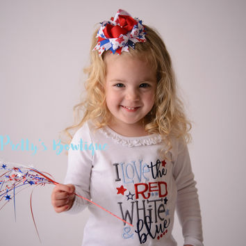 Girls 4th of july -- I love the red white and blue bodysuit/Shirt -- Fourth of July shirt -- 4th of July Shirt-- Fireworks shirt