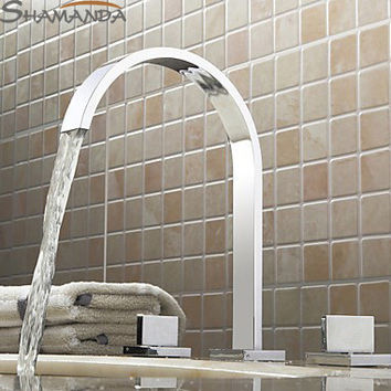 Shipping-Bathroom Products Solid Brass Chrome Finished 3 Pcs Faucet Set 2 Handles Sink Basin Faucet Basin Mixer Tap-2406