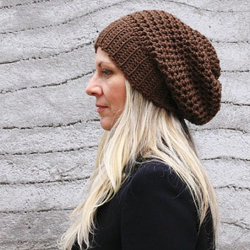 Women chunky crochet hat in brown winter fashion for women or teenagers, Clio, vegan friendly