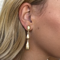 Glam Gold Tear Drop Earrings