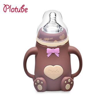 Baby bottle Wide Caliber Glass Feeding Bottle With Handle Silicone Case Anti-fall Anti-flatulence Baby Products 240ML