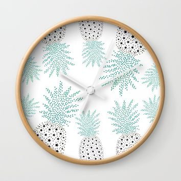 Pineapple Pattern Wall Clock by ES Creative Designs