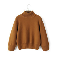 autumn winter women sweaters turtleneck female loose knitwear brief solid joker ladies knit pullovers