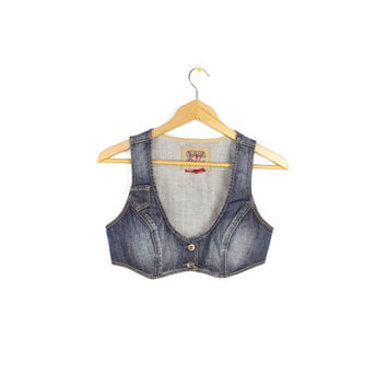 90s GUESS DENIM bralette crop top - vintage 1990s - stretch denim - cropped bustier - bikini bra top - womens jean halter tops