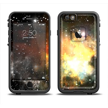 The Glowing Gold & Black Nebula Apple iPhone 6 LifeProof Fre Case Skin Set