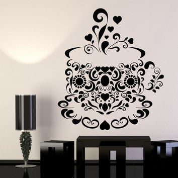 Vinyl Wall Decal Tea Coffee Cup Patterns Kitchen Design Stickers Unique Gift (1235ig)