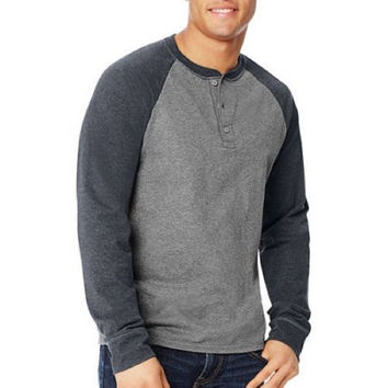 Hanes Big Men's X-temp Long Sleeve Colorblock Raglan Henley, 2XL, Charcoal/Gray