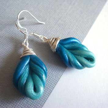 Peacock Blue Feather Abstract Earrings  Aqua / by JustClayin