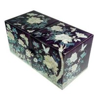 Women's small purple wood jewelry box with 4 storage drawers covered with mother of pearl. handcrafted. Masterpiece.
