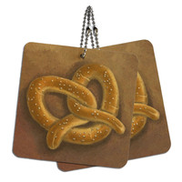 "German Soft Pretzel Wood MDF 4"" x 4"" Mini Signs Gift Tags"