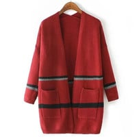Red Slouchy Striped Knitted Cardigan Sweater