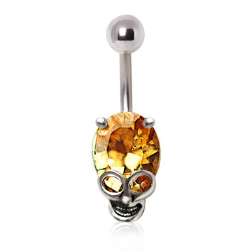 316L Surgical Steel Topaz Colored Glass/Gem Alien Skull Navel Ring