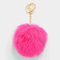 Large Rabbit Fur Pom Pom Keychain, Key Ring Bag Pendant Accessory - Pastel Hot Pink