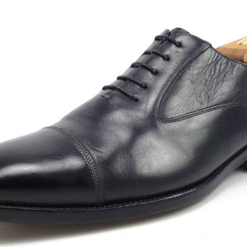 Santoni Mens Shoes 10 Darren Leather Cap Toe Oxfords 751511 Black