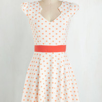 Vintage Inspired Mid-length Cap Sleeves A-line The Story of Citrus Dress in Orange by ModCloth