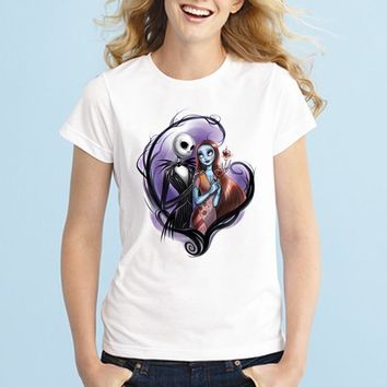 Summer Cool Corpse Bride T Shirts Women's Gothic Nightmare Before Christmas T Shirts Crewneck Top Tees Femme Camisetas Plus Size