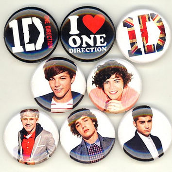 One Direction set of 8 button pin badges