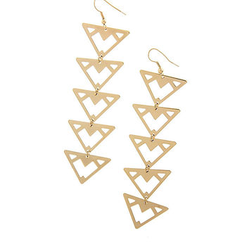 Gold Triangle Chain Earrings
