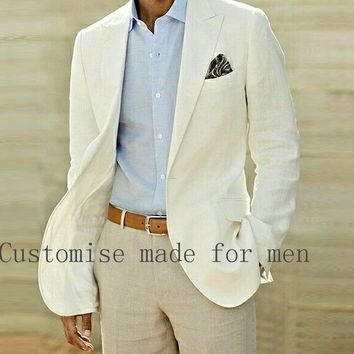 Summer Beach Linen Suits Ivory Wedding Suits Casual Notched lapel Grooms Tuxedos Two Piece One Button Slim Fit Groomsmen Suit