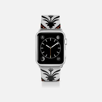 Halloween trellis ikat transparent apple watch band Apple Watch Band (38mm)  by Sharon Turner | Casetify