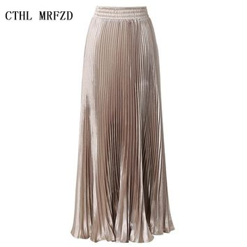 2017 Summer New Fashion Vintage Metallic Bling Bling Glitter Gold Pleated A Line Women Long Maxi Flare Skater Party Skirt