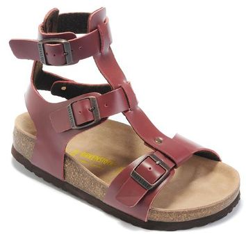 Birkenstock leather cork flats ladies casual sandals shoes soft insole slippers / wine red