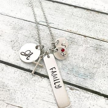 Family necklace - hand stamped jewelry - hand