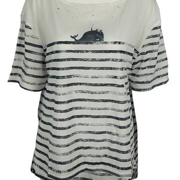 Whale Dolphin nautical print top shirt womens ladies tshirt