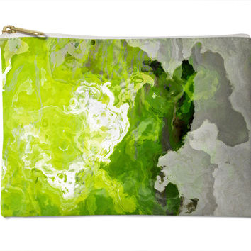 Cosmetic bag with abstract art, in lime green, Lime Light