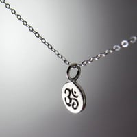 Sterling Silver Ohm Charm Pendant Necklace, thin silver whisper chain with sanskrit om tiny coin