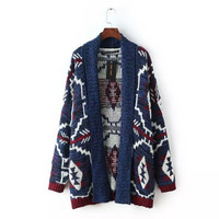 Women Geometric Knitted Long Sleeve Cardigan Sweater