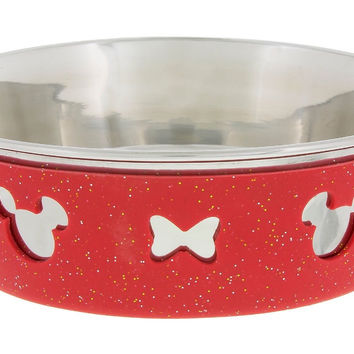 Disney Parks Minnie Bow Silicone on Metal Small Pet Bowl New