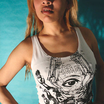 white tank top, white crop top, screenprinted crop tank, crop tank, graphic tees, womens tank top, Eyegod,  XS/S- M/L