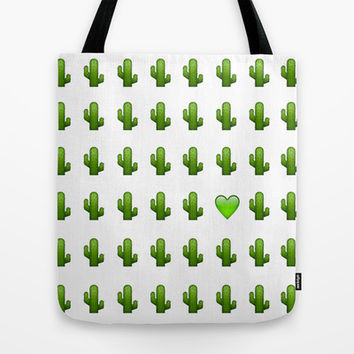 Cacti Emoji Love Tote Bag by Gretchen M.