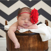 baby flower headband..big bow..red headband..newborn headband..girl headband, toddler headband..photography prop,birthday prop