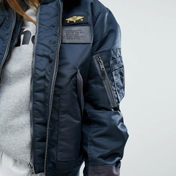 Schott Coach Oversized Flight Jacket With Double Layer Collar And Woven Badges at asos.com