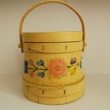 Yellow Painted Wood Fir Kin Primitive Sugar Bucket Flowers Decorative Folk Art