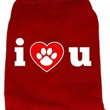 I Love You Screen Print Knit Pet Sweater Lg Red large