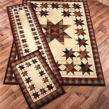 Rug Set 2 Piece Area Runner Throw Rugs Patchwork Stars Country Rustic Cabin NEW