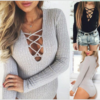 Long Sleeve Cross V-Neck Romper