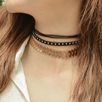 171201 Fashion Metal Rivet Chain Multilayer Clavicle Necklace C1380