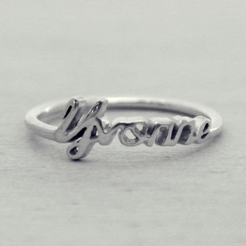 Sterling Silver / 18K Gold Plated Persionalized Name Ring