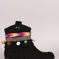 Suede Strappy Dangle Charms Western Ankle Boots