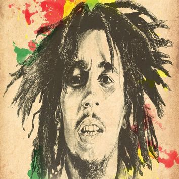 Canvas Poster Silk Fabric 1876_bob_marley Custom HD Home Decor Retro Classic Vintage Movie Poster best  Poster DGT-514