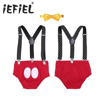 iEFiEL Baby Boy Clothes Autumn Newborn Baby Sets Infant Clothing Gentleman Suit Bow Tie+Suspender for Birthday Party Daily Wear