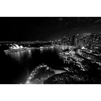 Sydney Skyline poster Metal Sign Wall Art 8in x 12in Black and White