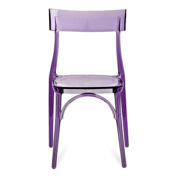 Glossy Plastic Dining Chair In Transparent Purple (Set Of Two)