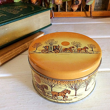 Cashew Butter Crunch Tin, Cherrydale Farms Tin, Brown Vintage Tin, Sleigh Bell Tin, Holiday Cashew Tin, Holiday Nut Tin, Vintage Nut Tin